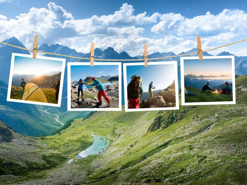 Trekking Impressionen mit Zelt und Rucksack