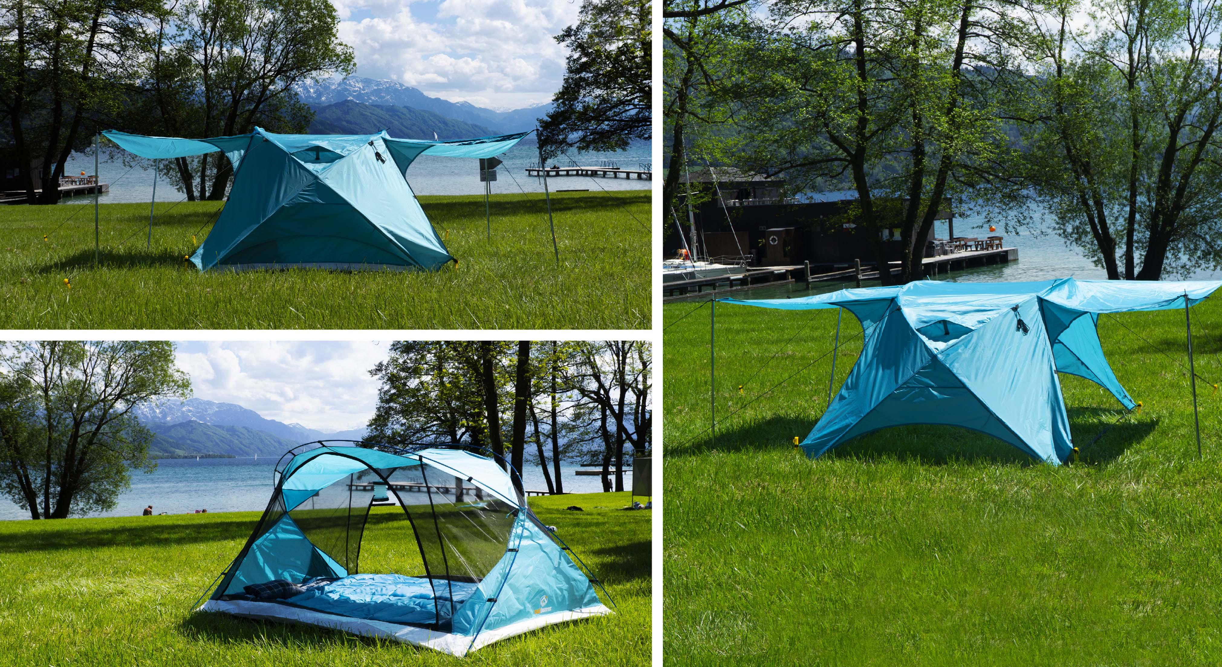 Zelten am See mit 3 in 1 Zelt Svalin